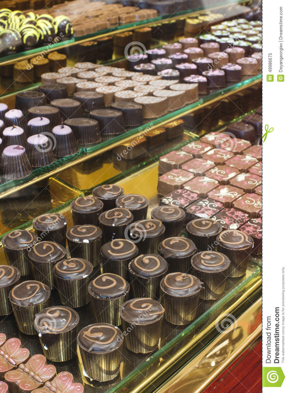 Chocolate Candy In A Store Window Stock Photo - Image: 49986675
