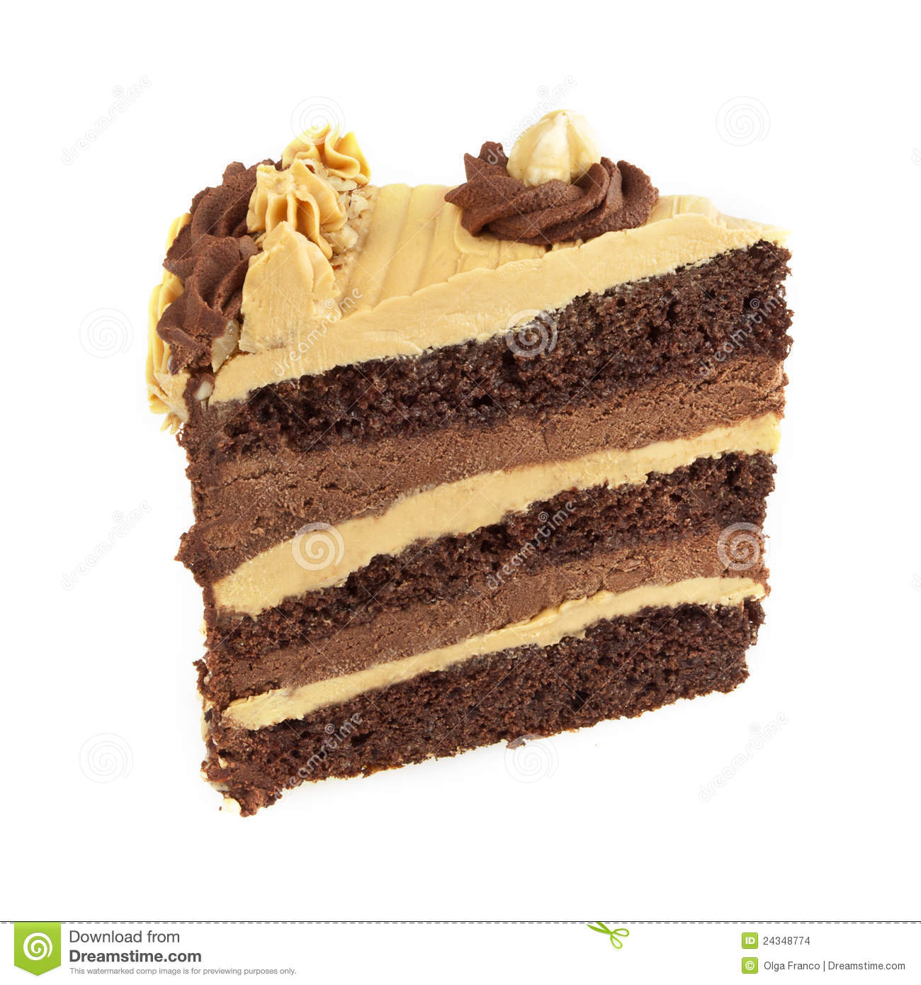Chocolate and caramel cake isolated on white. Layers of chocolate cake ...