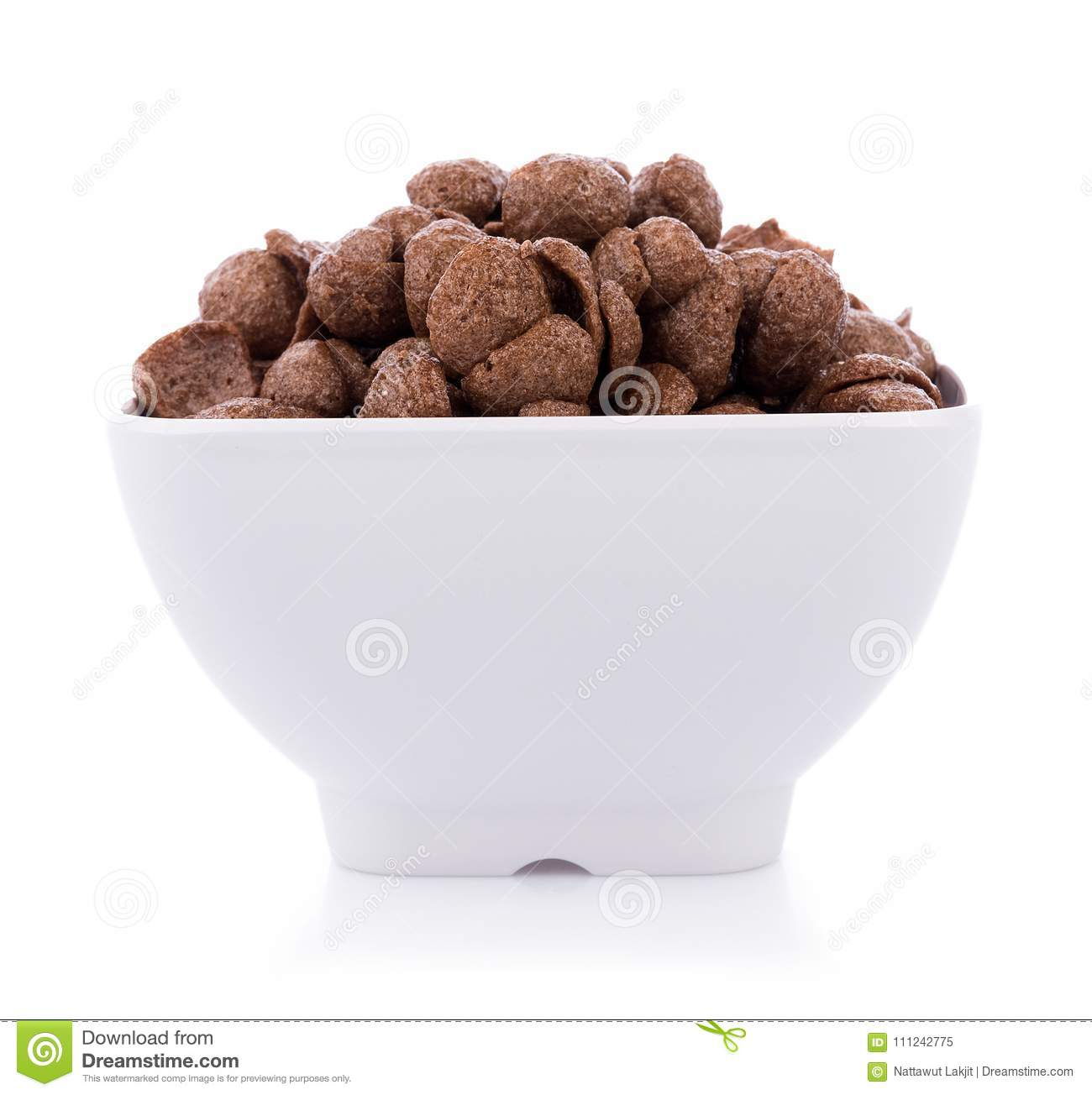 Chocolate Cereals In White Bowl On White Background