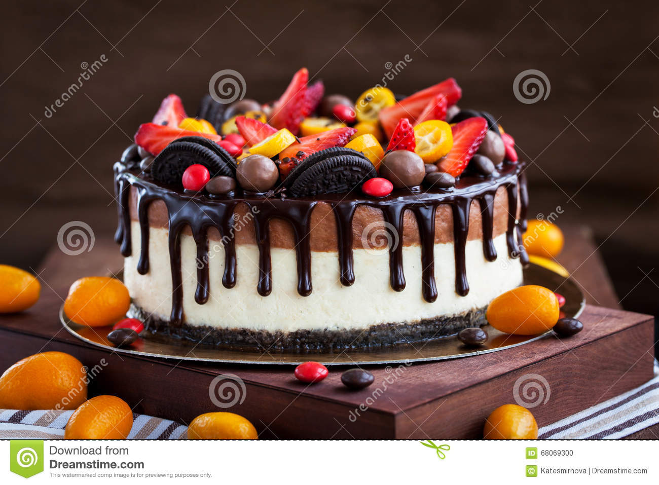 Chocolate Cheesecake Decorated With Fresh Fruits Stock