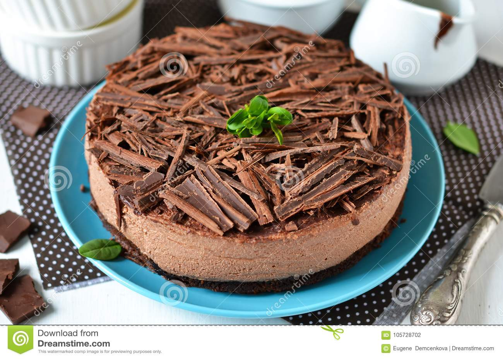 Chocolate cheesecake with mascarpone, chocolate biscuit