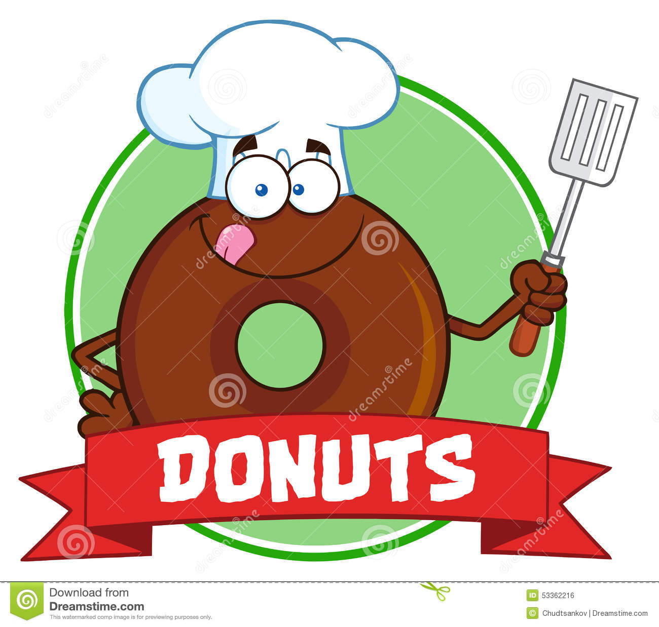 Chocolate Chef Donut Cartoon Character Circle Label With