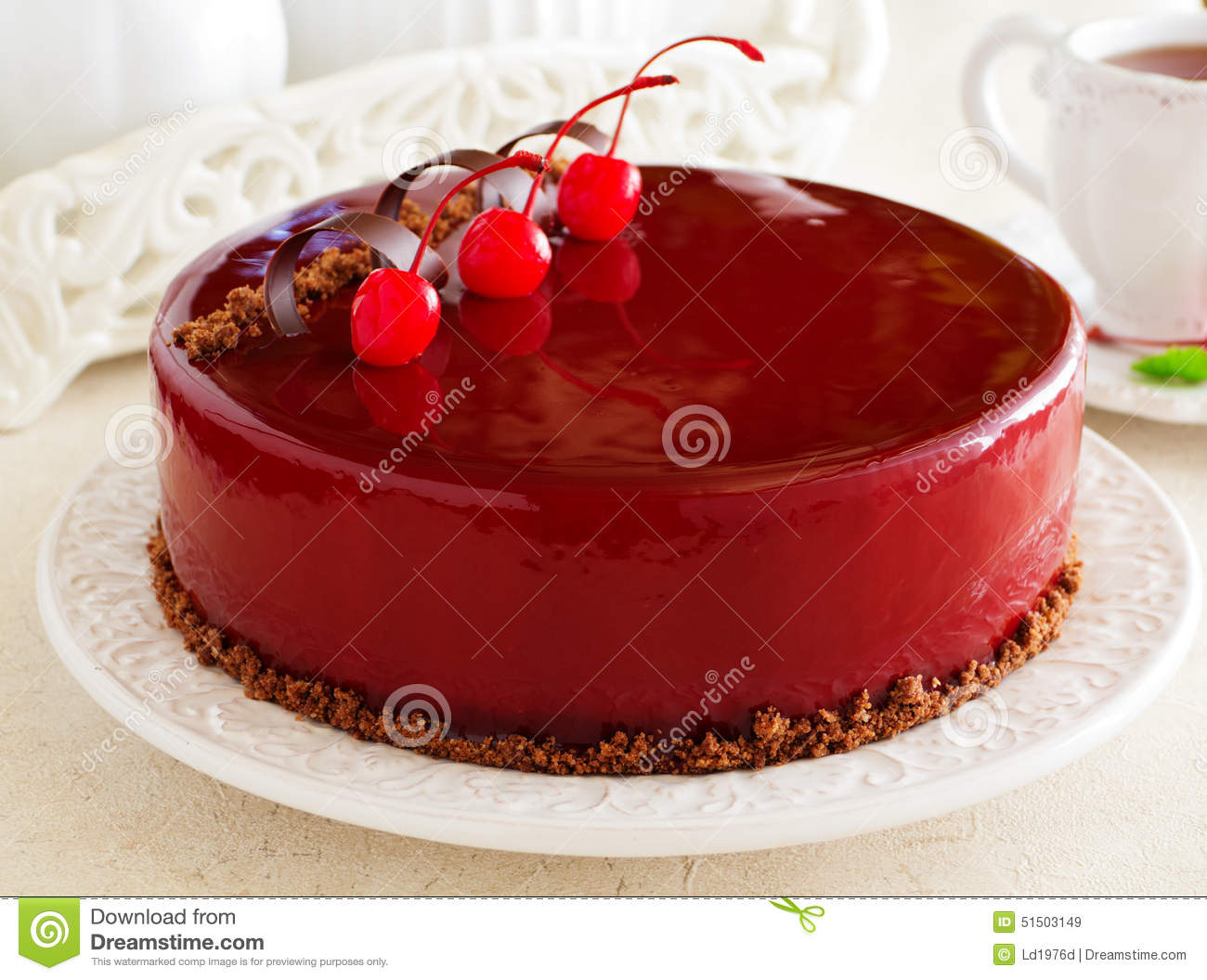 Chocolate Cherry Cake Covered Stock Photo - Image: 51503149