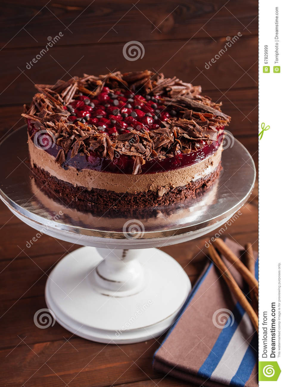 Chocolate And Cherry Cake Stock Photo - Image: 67829999
