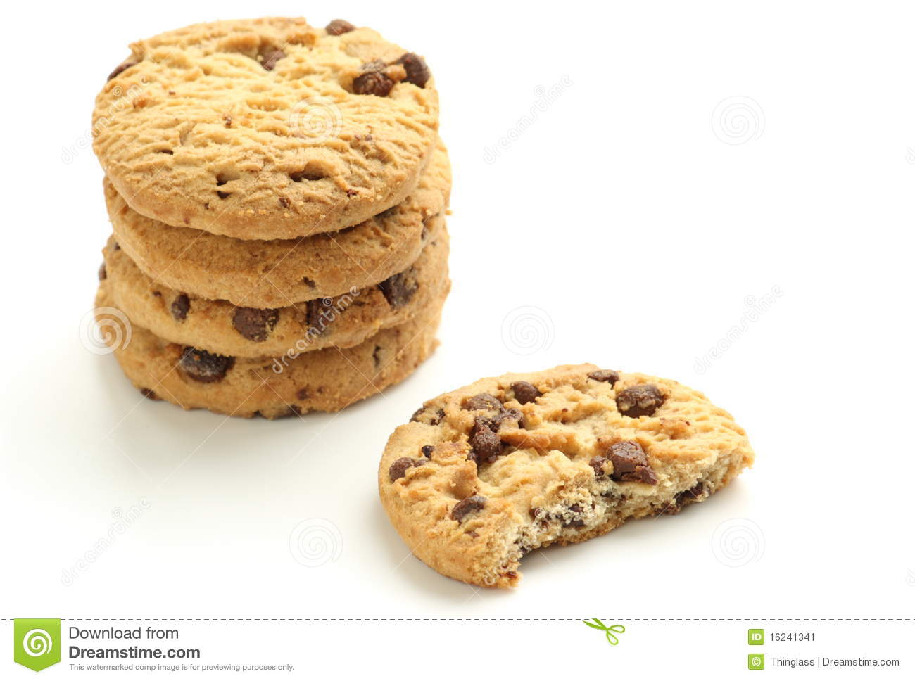 Chocolate Chip Biscuits stock image. Image of diet, cookie