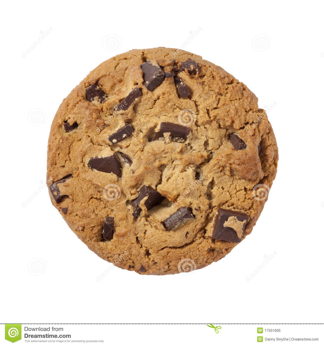 Royalty Free Stock Photo: Chocolate Chip Cookie isolated with clipping ...