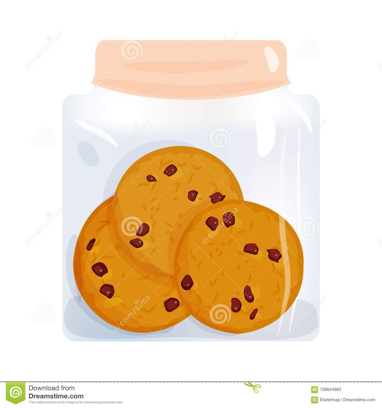 Chocolate chip cookie set, homemade biscuit in glass jar, isolated on white background. Bright colors. Vector
