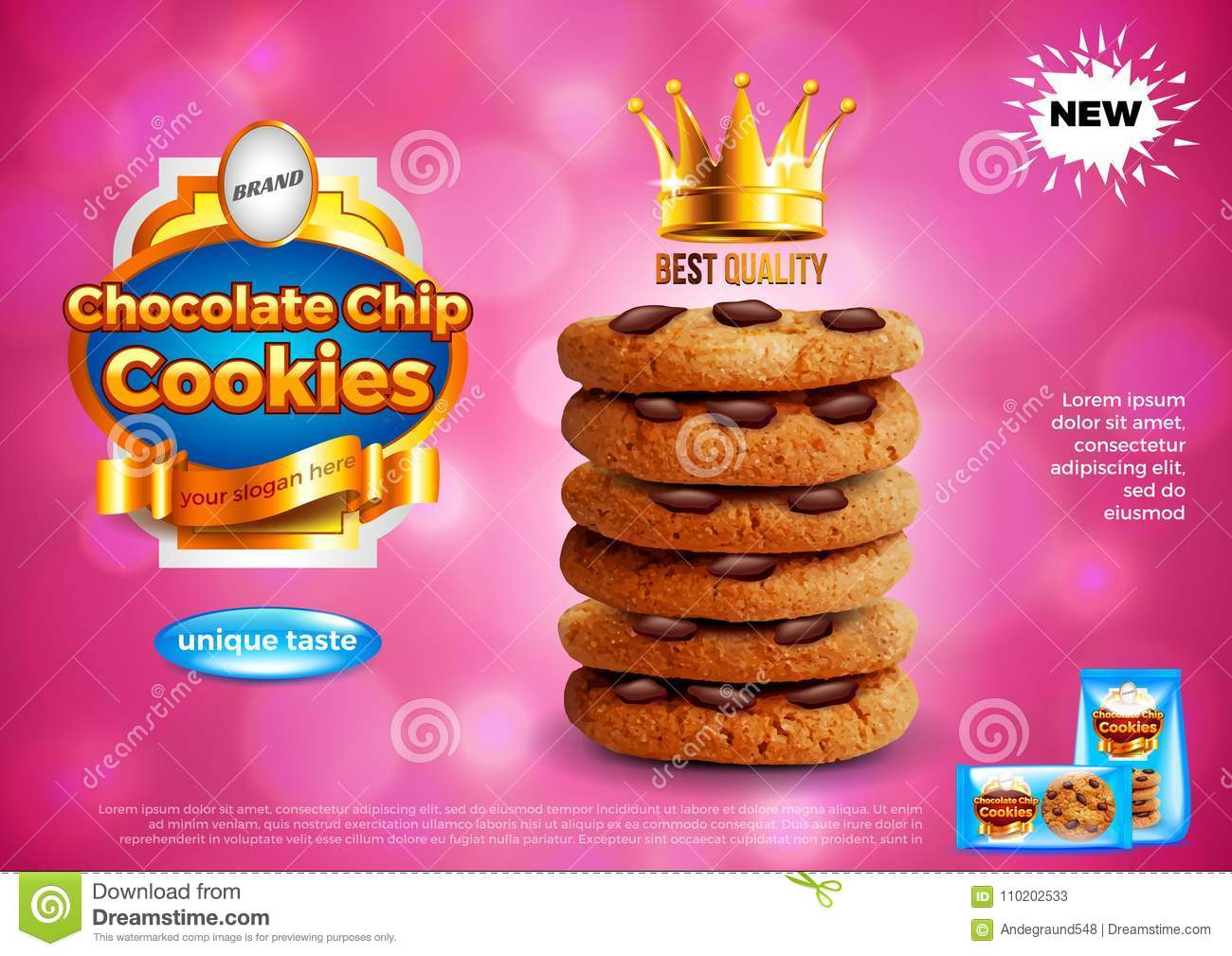 Chocolate chip cookies ads vector background