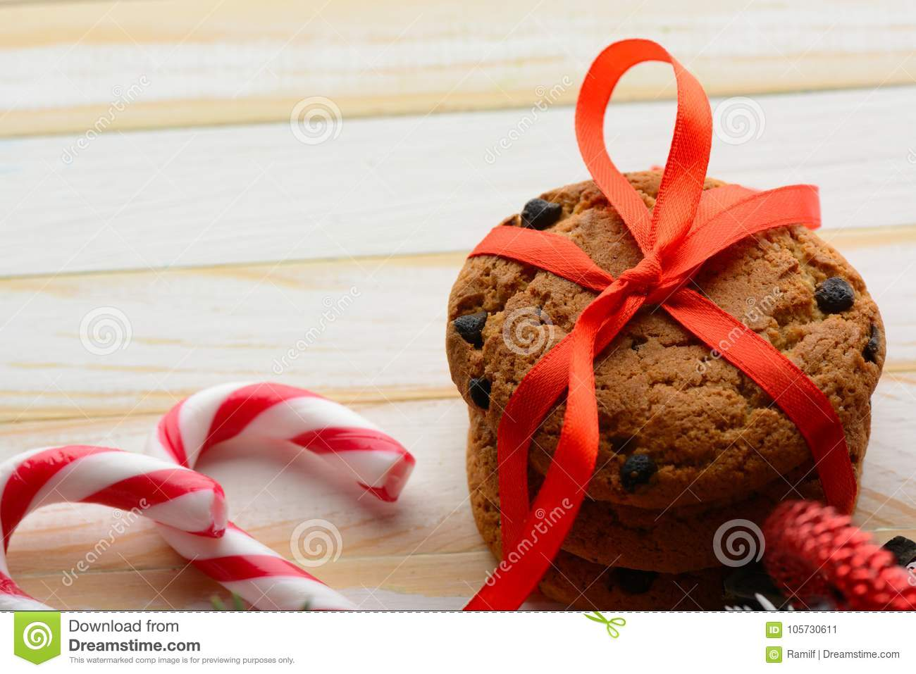 Chocolate Chip Cookies And Candy Canes Stock Image Image Of