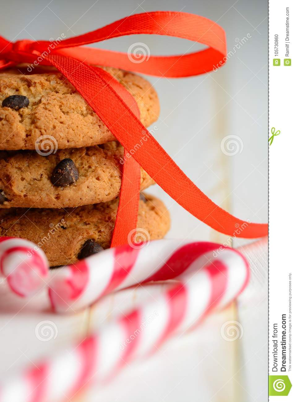Chocolate Chip Cookies And Candy Canes Stock Photo Image Of Pastry