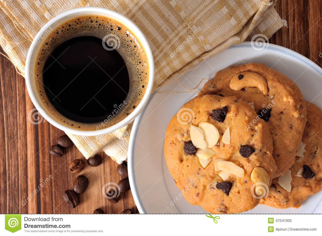 Cookie Coffee Cups Chocolate Chip Cookies And A Cup Of Black Coffee Stock Photo