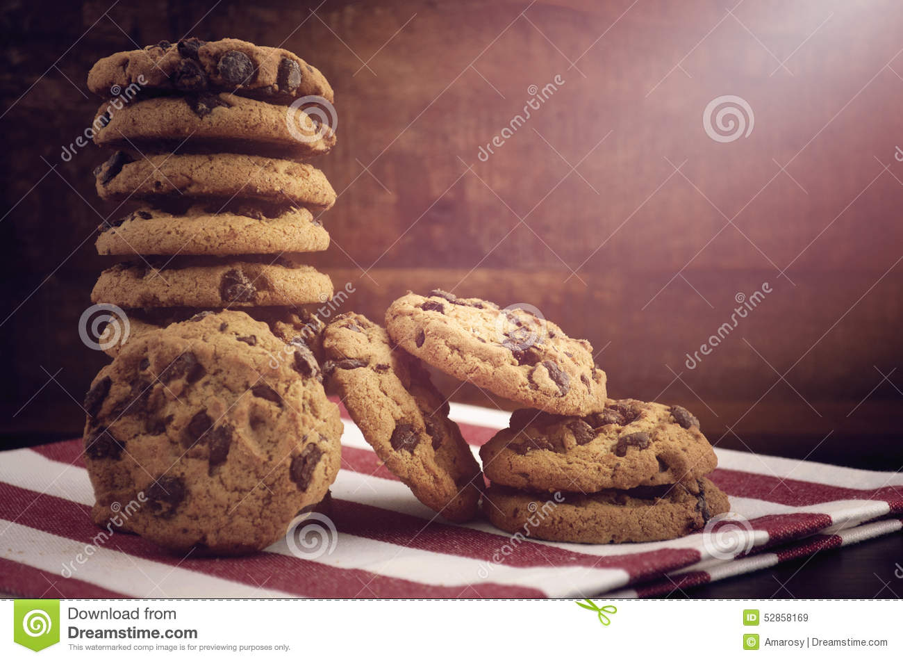 Chocolate Chip Cookies On Dark Wood Background Stock Image