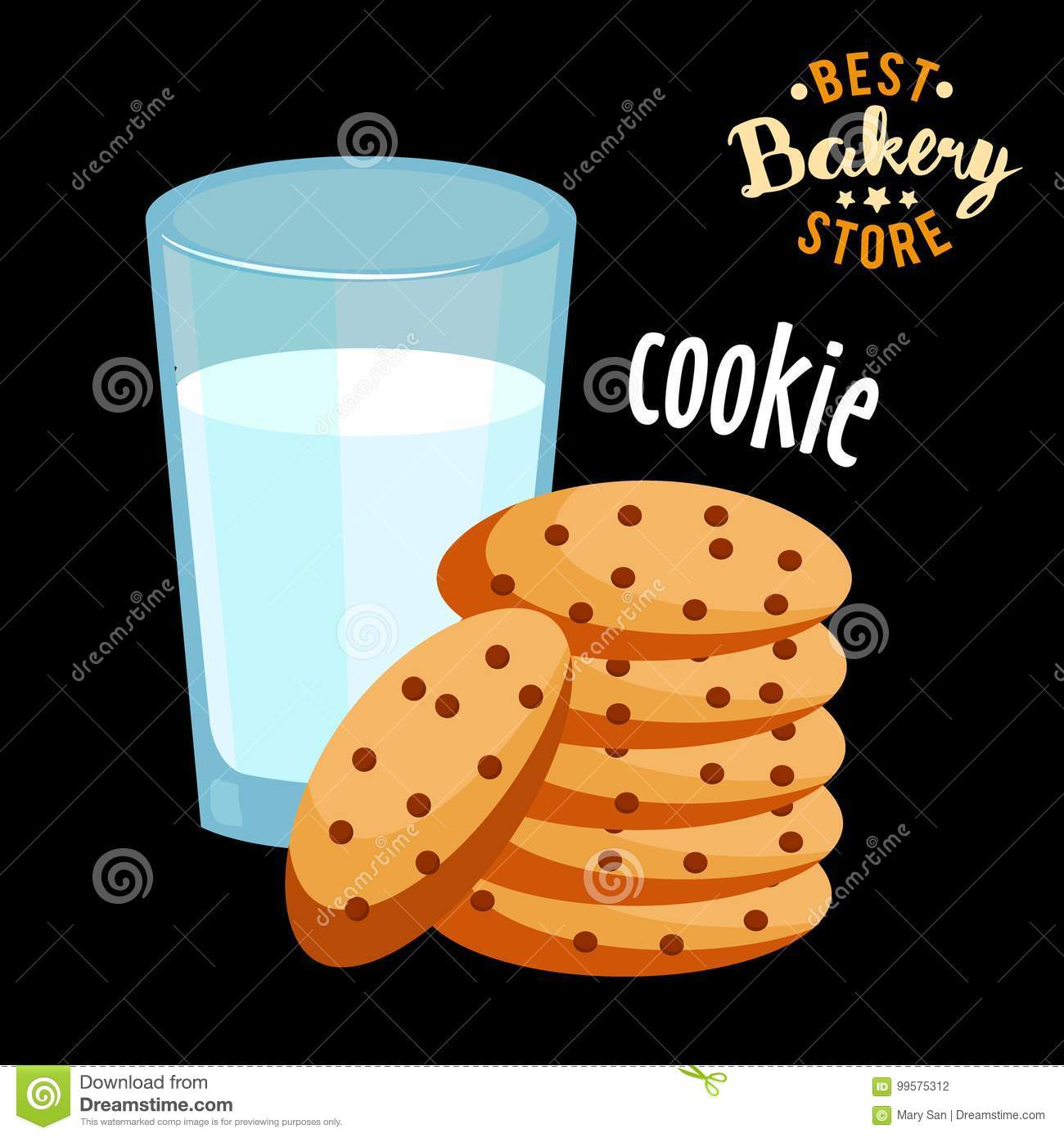 Chocolate chip cookies and glass of hot milk . Baked bread product.