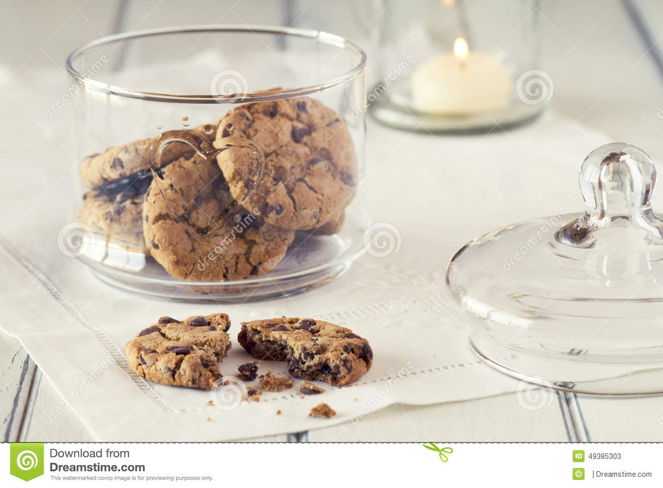 Chocolate Chip Cookies Stock Image Image Of Look Pastry