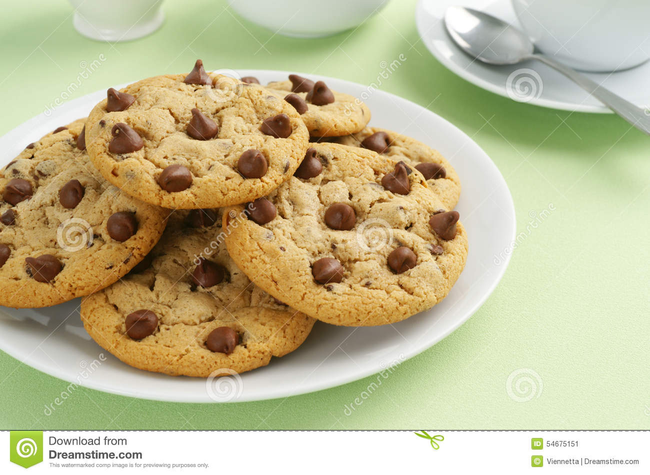 Chocolate Chip Cookies With Tea Or Coffee Stock Photo - Image ...