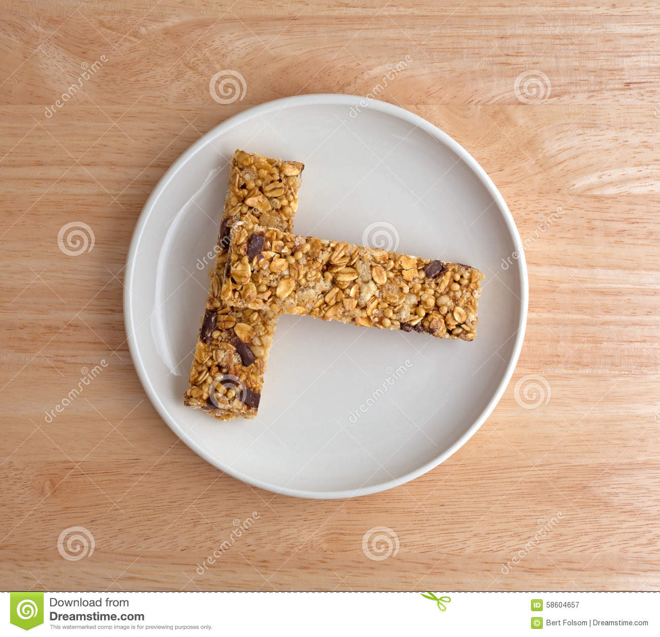 Chocolate chip granola bars on a plate stock photo image
