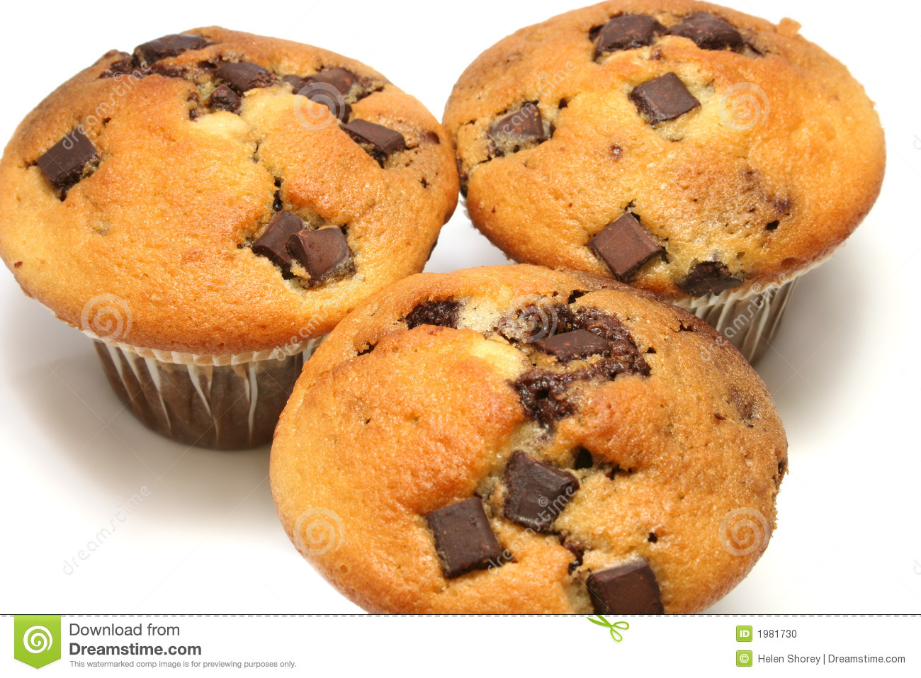 Close up of three chocolate chip muffins on a white background.
