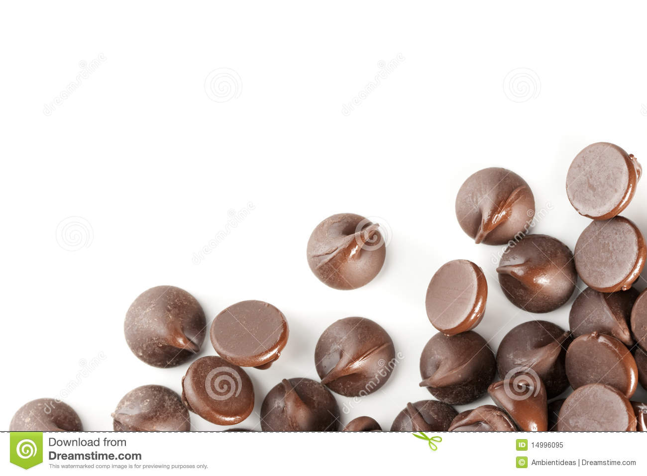 Chocolate Chips Isolate On White Border Royalty Free Stock Photo ...