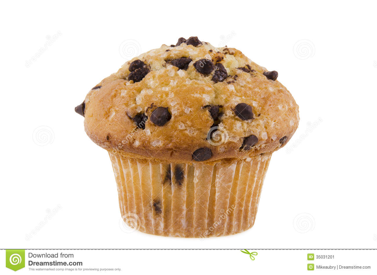 Chocolate chips muffin, isolated on white background.