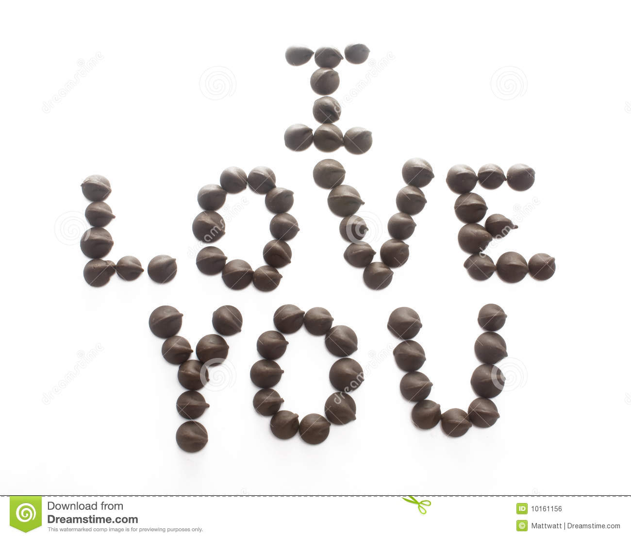 Chocolate Chips Spelling I Love You Royalty Free Stock Image ...