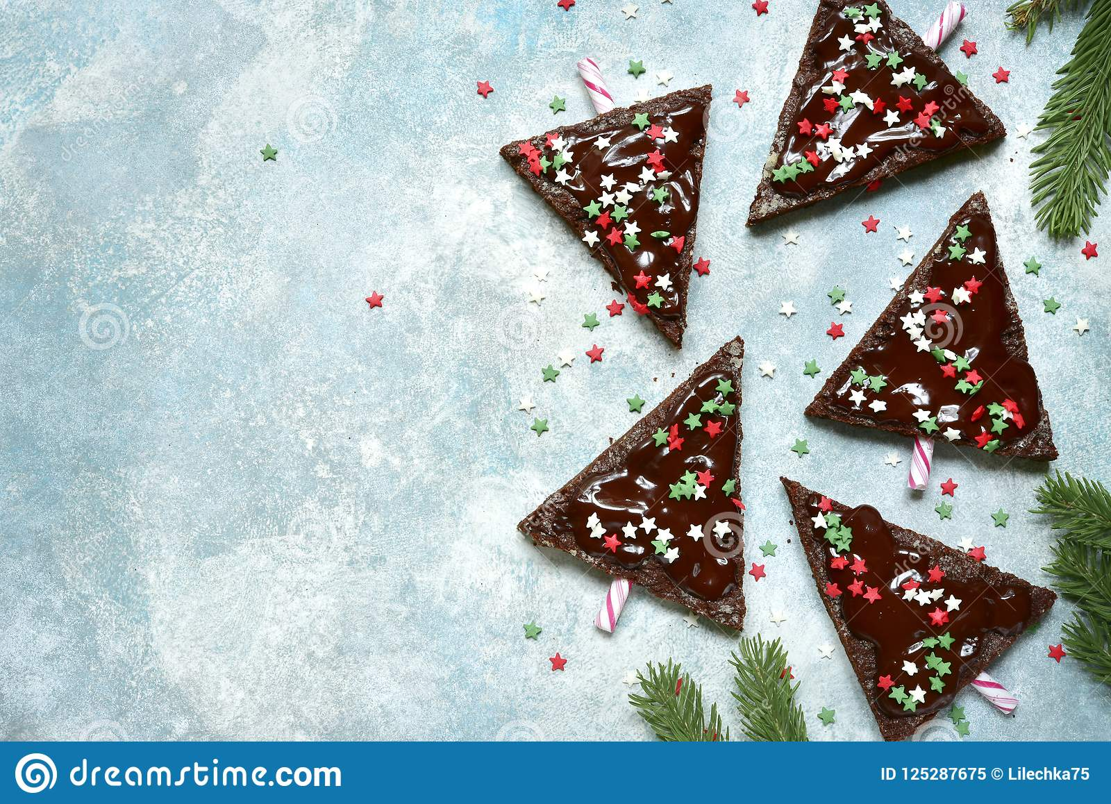 Christmas Tree Top View.Chocolate Christmas Tree Top View With Copy Space Stock