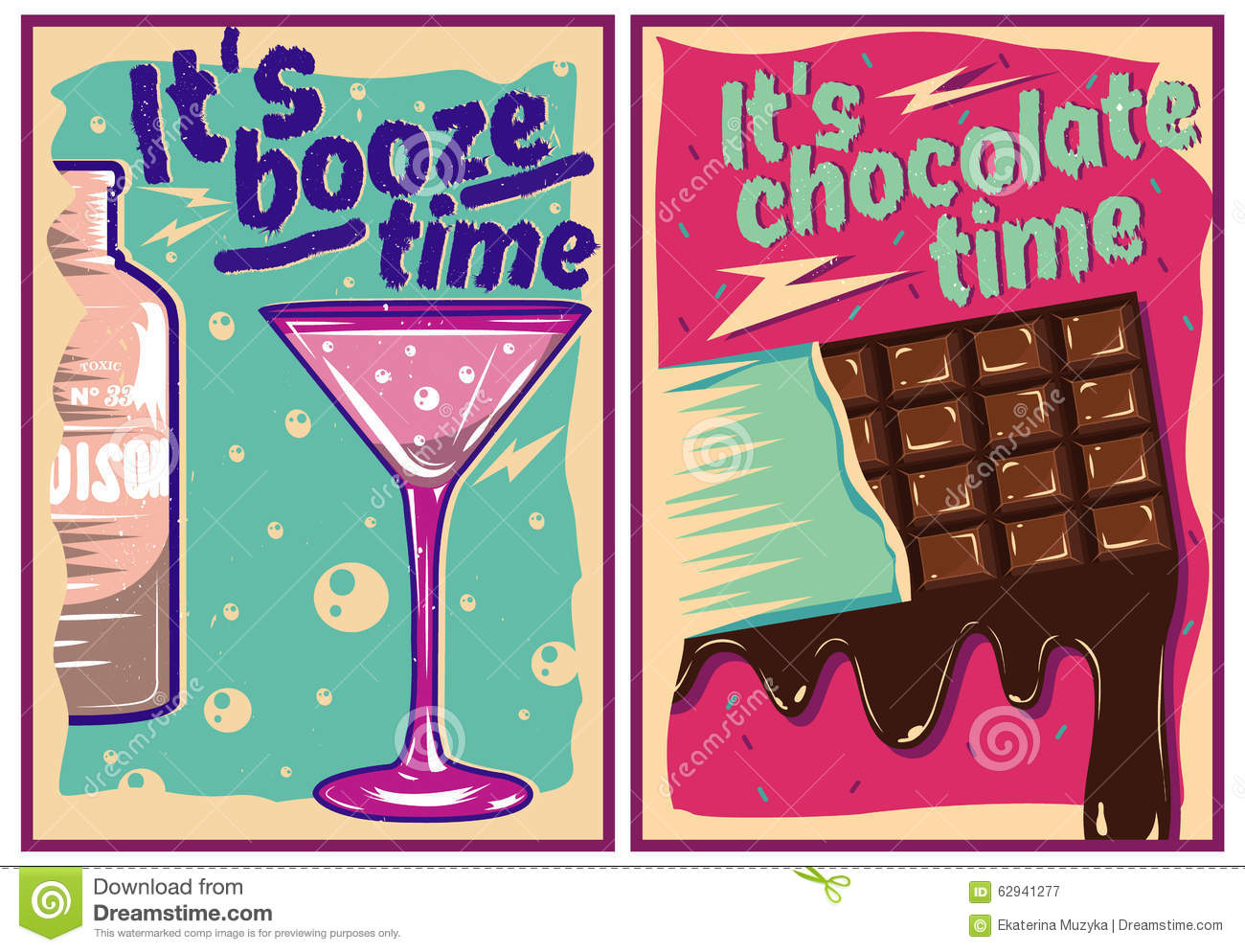 Chocolate And Cocktail Posters In Vintage Style Stock ...