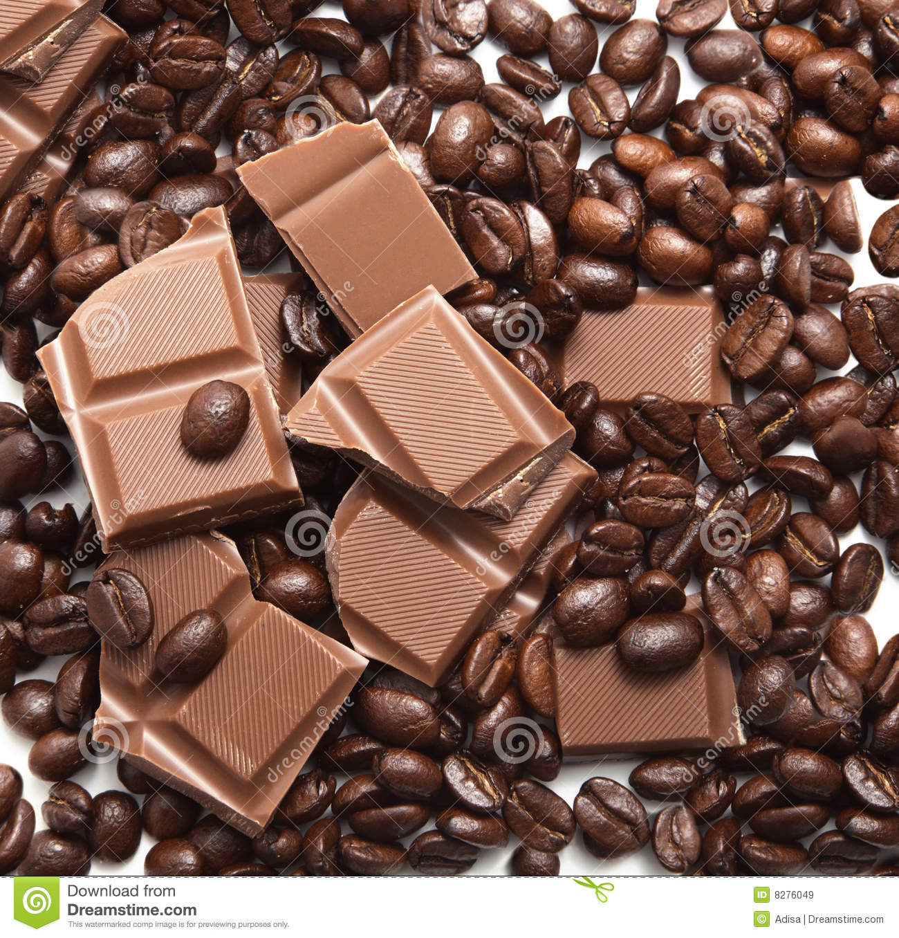 Chocolate And Coffee Beans Royalty Free Stock Images - Image: 8276049