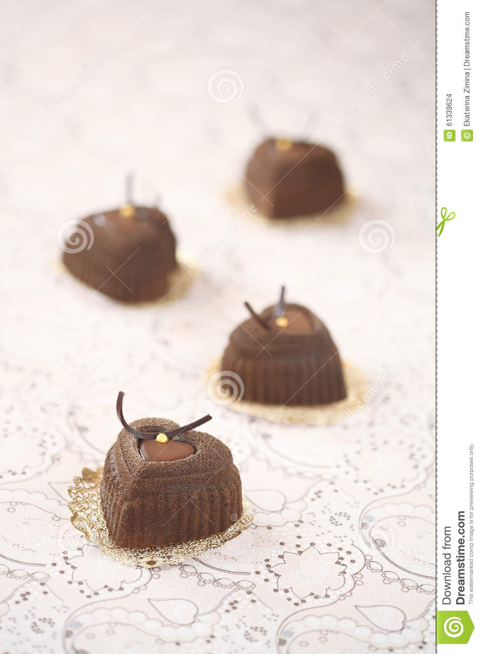 Chocolate Coffee Mousse Heart Cakes Stock Photo - Image: 61339624