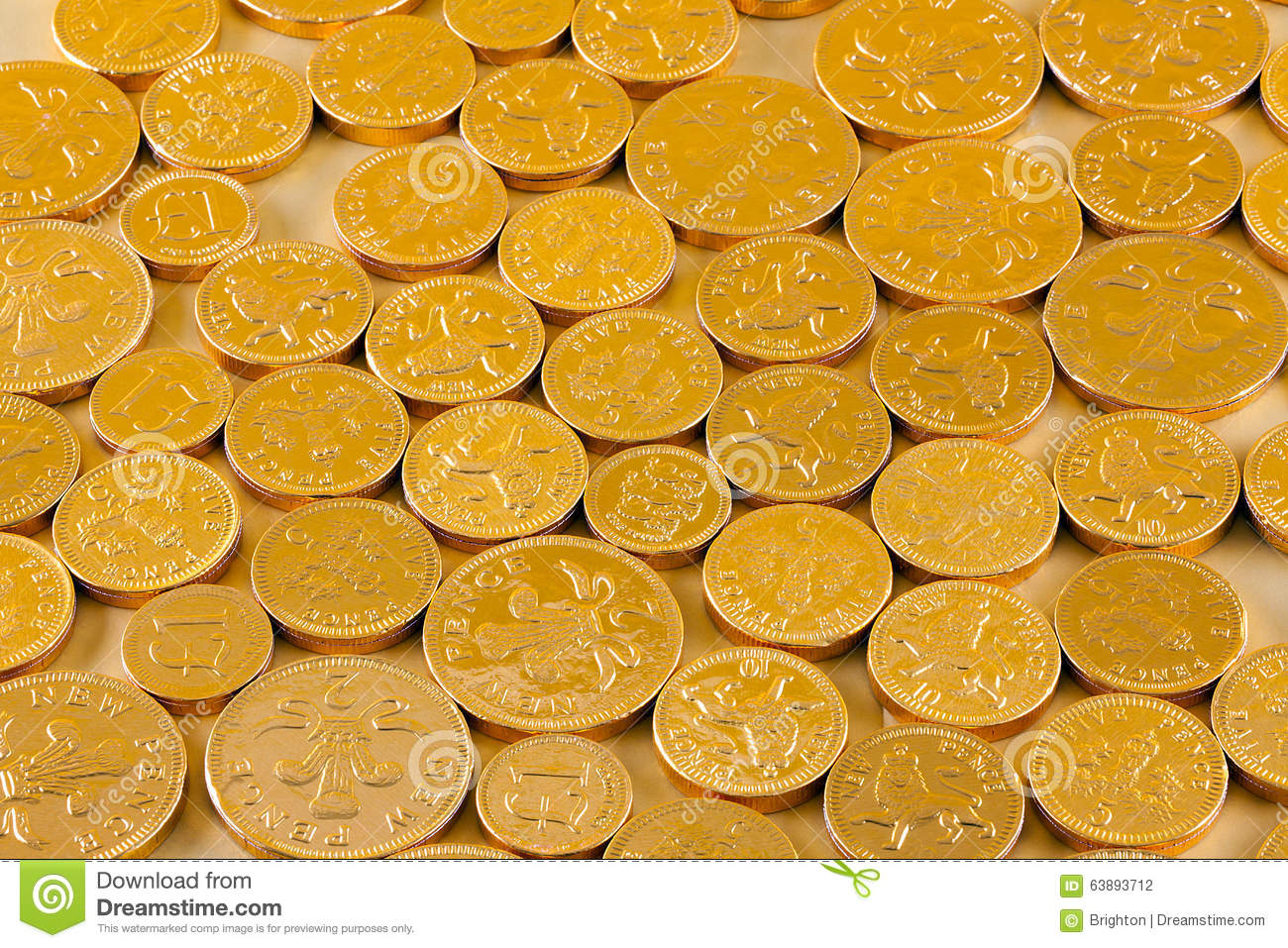 Chocolate Coins Stock Photo - Image: 63893712