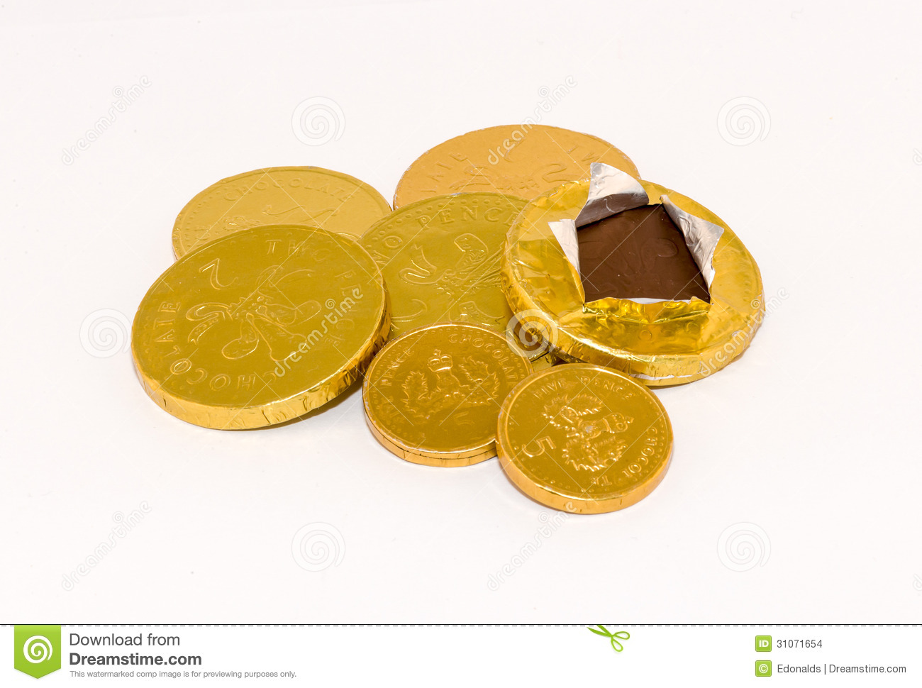 Gold foil wrapped chocolate coins stock photo © Viktor ...