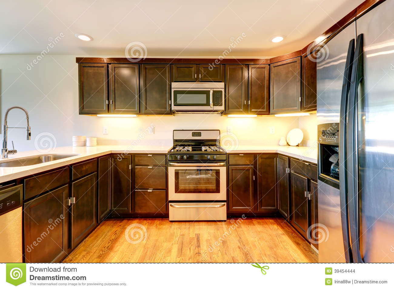 Chocolate Color Kitchen Room Stock Photo Image Of Cabinets
