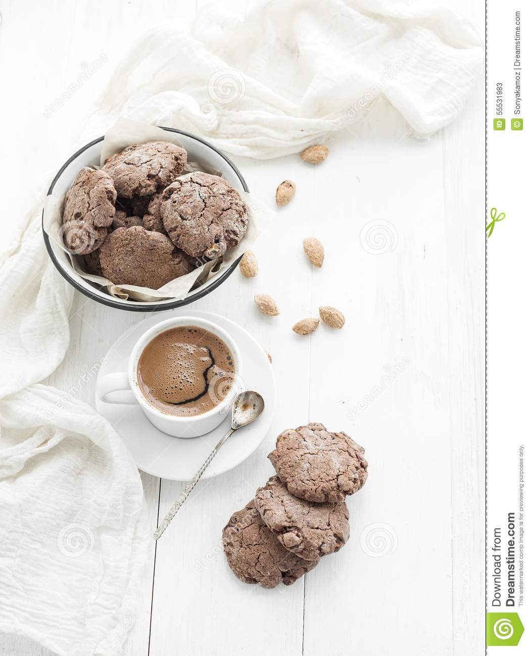 Chocolate Cookies With Almond And Cranberries, Cup Stock ...