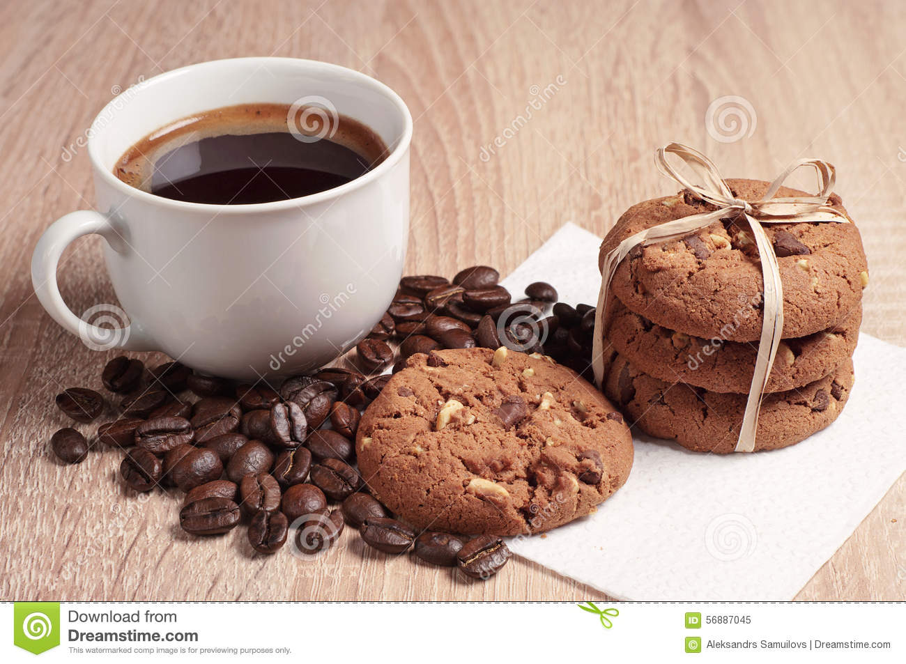 Cookie Coffee Cups Chocolate Cookies And Coffee Stock Photo Image 56887045