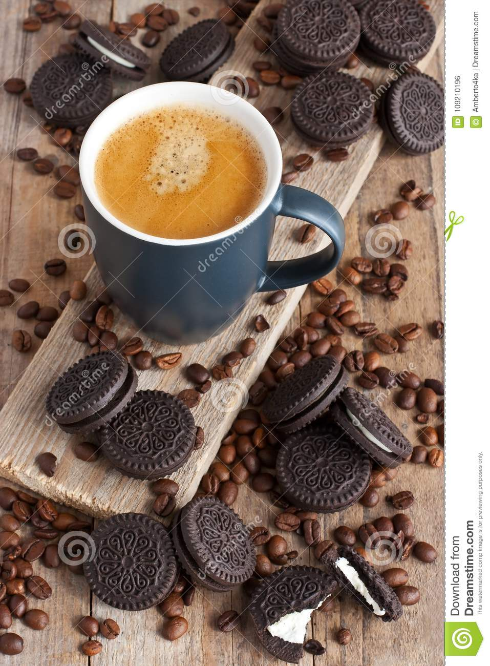 Breakfast Coffee Mug With Tasty Cookies Stock Photo Image Of Arabica Delicious 109210196