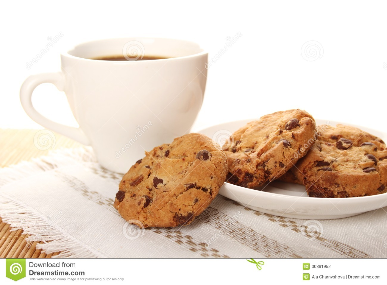 Cookie Coffee Cups Chocolate Cookies And A Cup Of Coffee Stock Photography Image