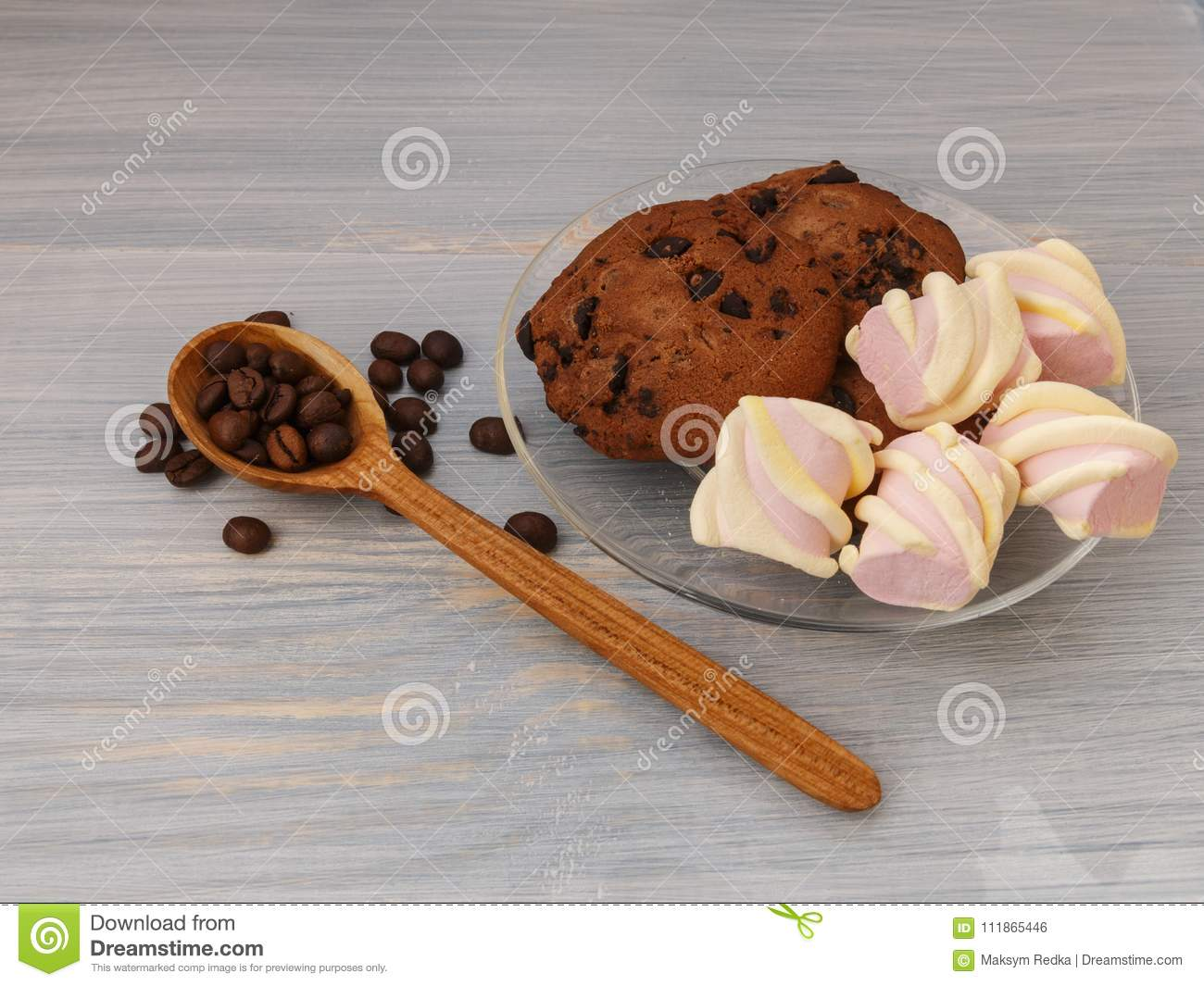 Chocolate Cookies Sticks With Marshmallows On Blue Background Stock
