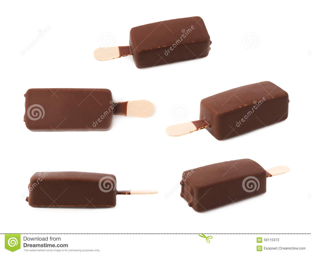 Chocolate covered vanilla ice cream bar on a wooden stick, isolated ...