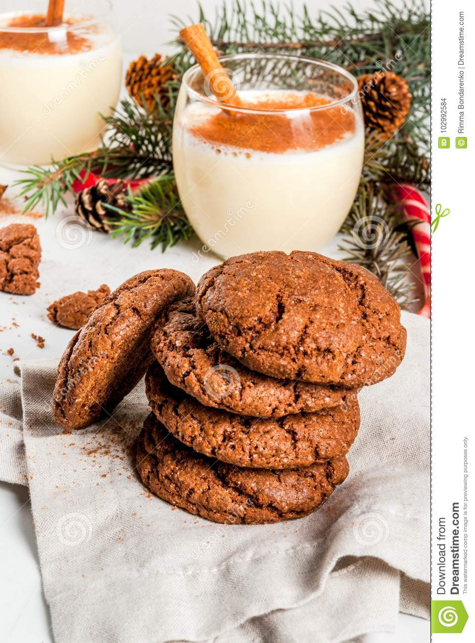 Chocolate Crinkle Cookies For Christmas Stock Photo Image Of