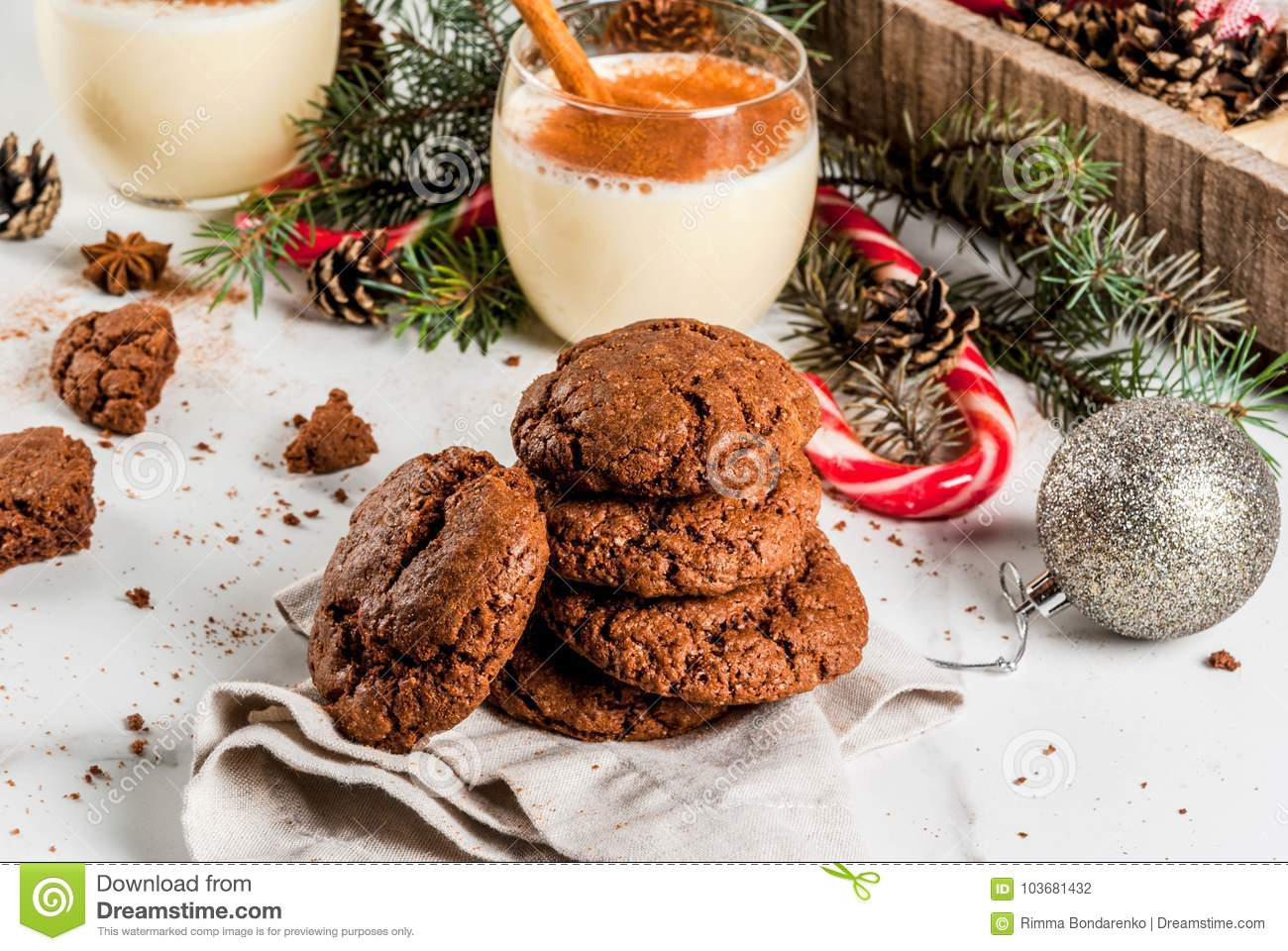 Chocolate Crinkle Cookies For Christmas Stock Photo Image Of Bell