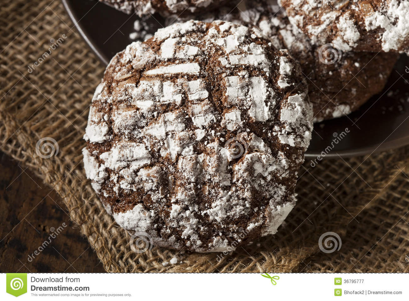 Chocolate Crinkle Cookies With Powdered Sugar Royalty Free Stock ...