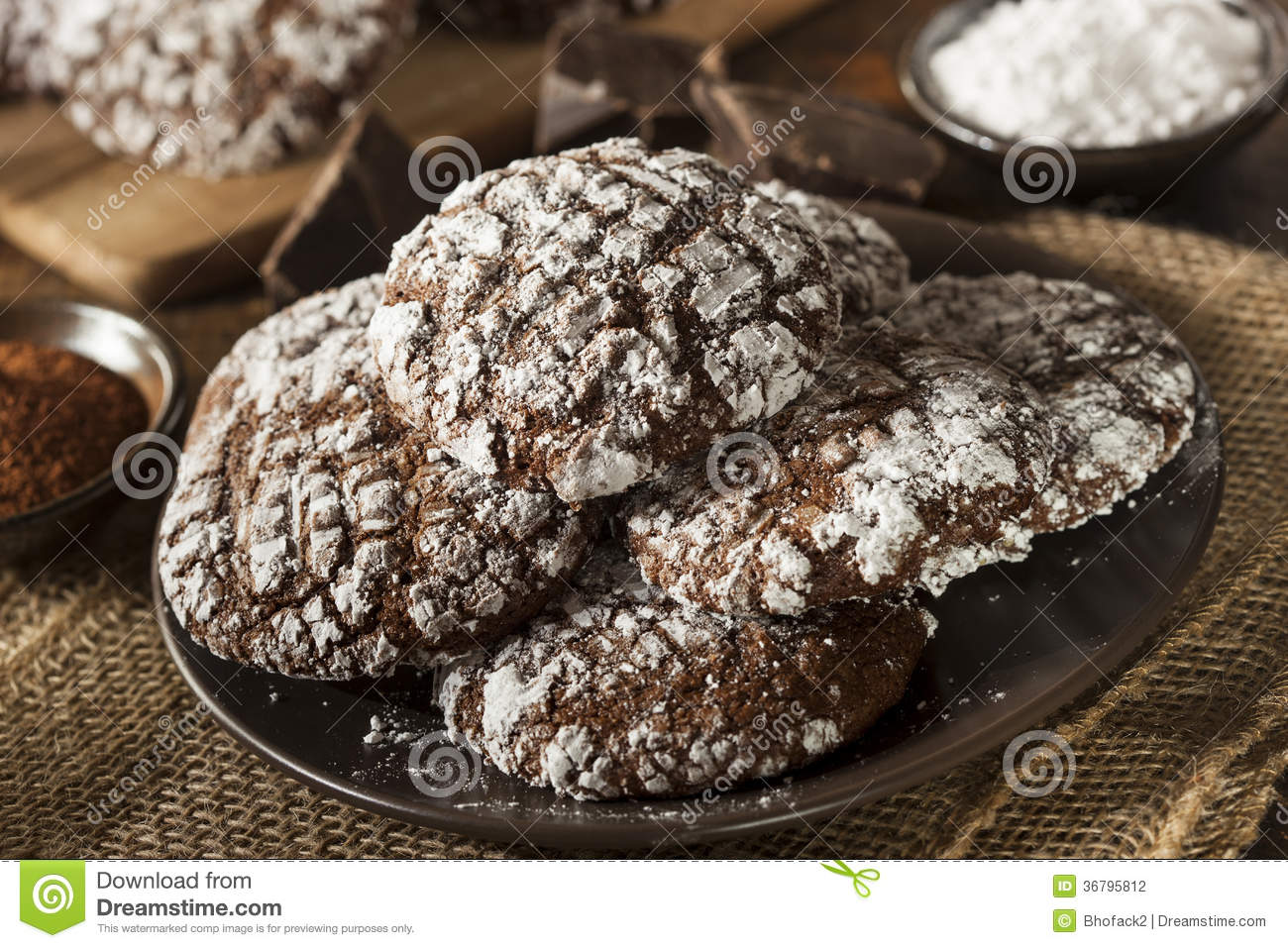 Chocolate Crinkle Cookies With Powdered Sugar Stock Photography ...