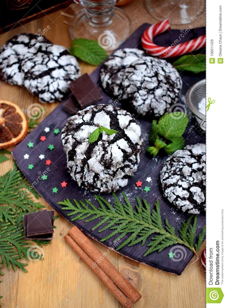 Chocolate Crinkle Cookies Surrounded By Christmas Attributes Stock