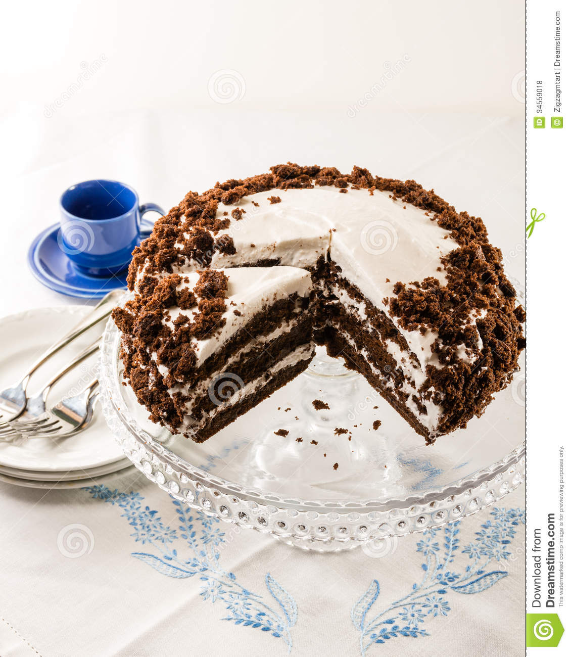 Chocolate Crumb Cake With White Icing Royalty Free Stock Photos ...