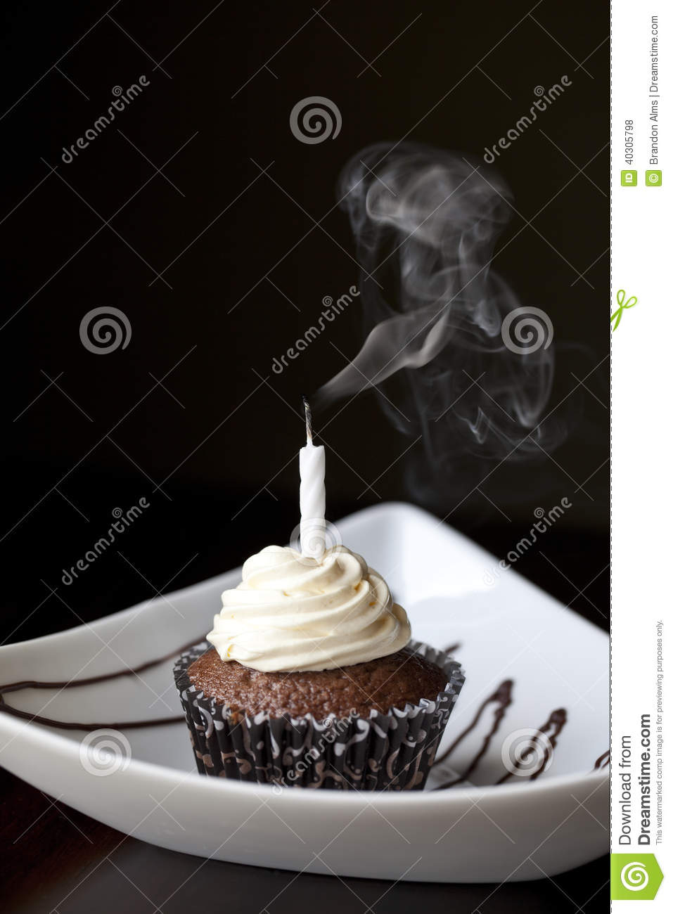 Chocolate Cupcake with Extinguished Birthday Candle