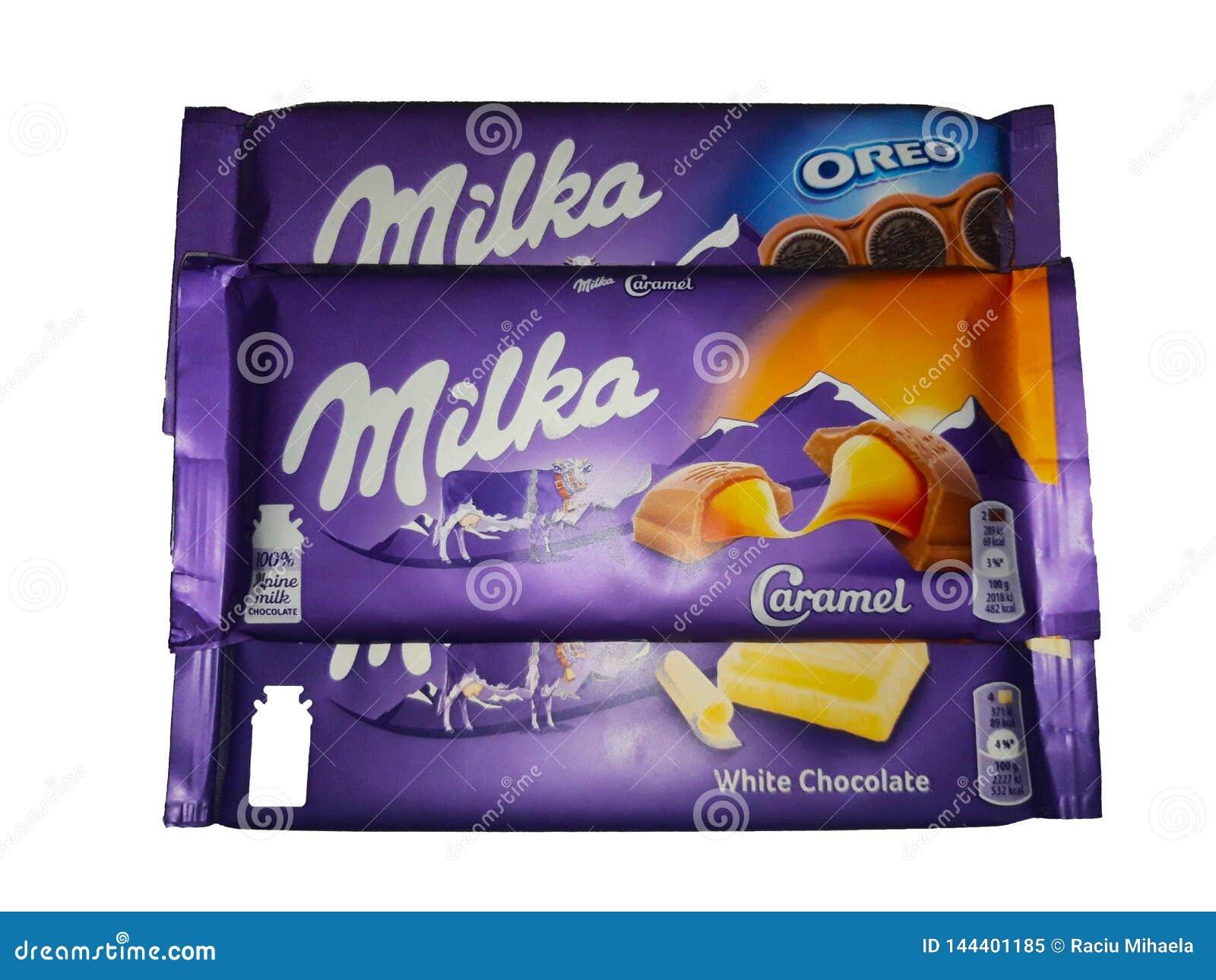 Chocolate de Milka en el fondo blanco