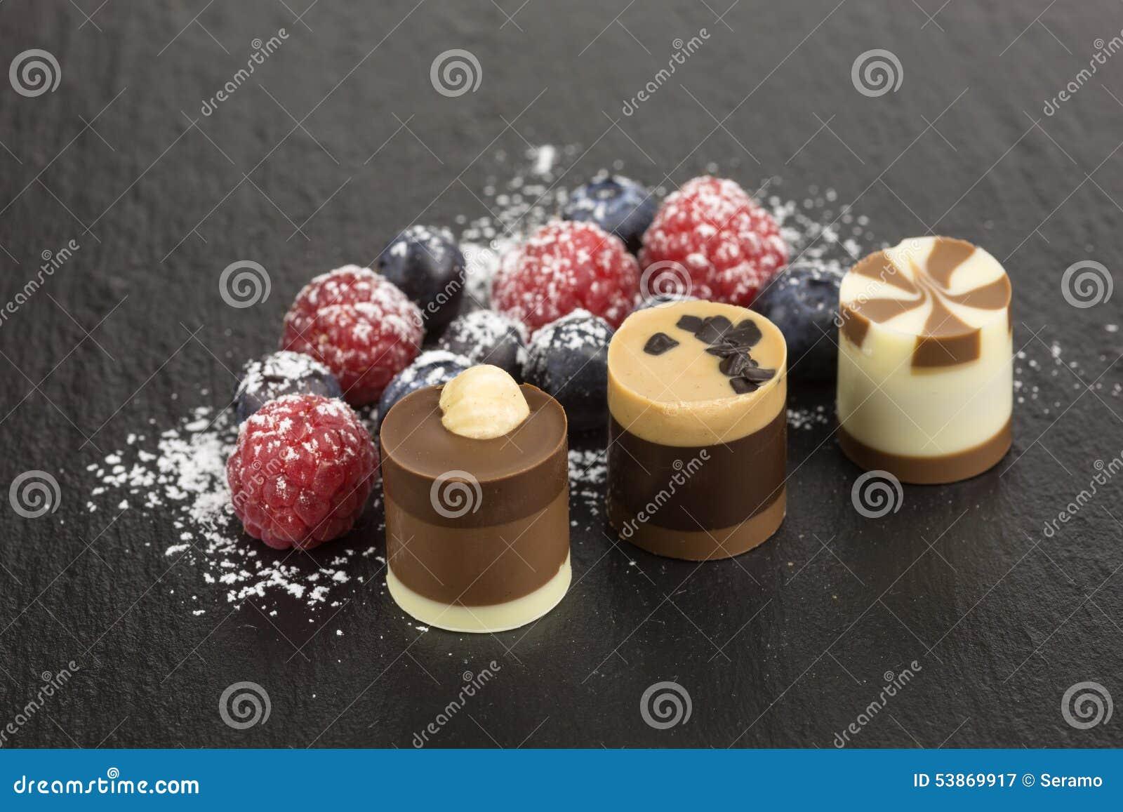 Chocolate Dessert With Berries Stock Photo Image 53869917