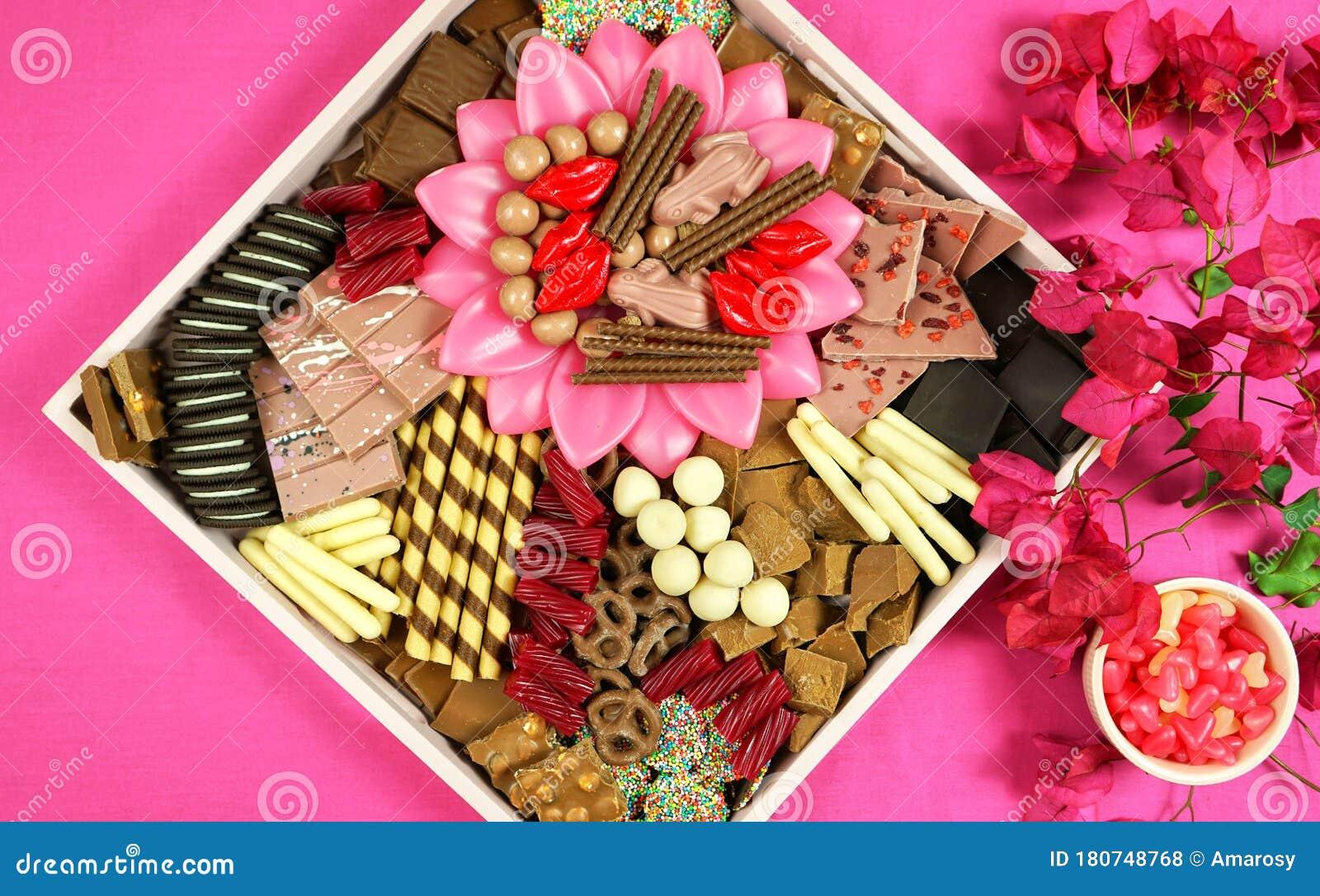Chocolate Dessert Charcuterie Grazing Platter Tray On Modern Pink Background Stock Photo Image Of Food Celebration 180748768