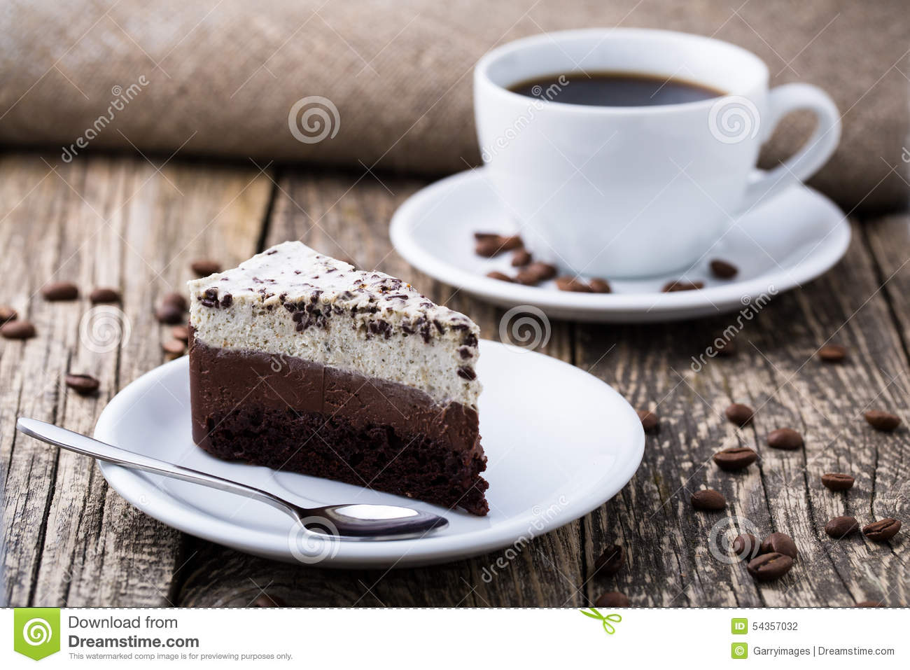 Chocolate Dessert With Coffee Cup And Coffee Beans On ...