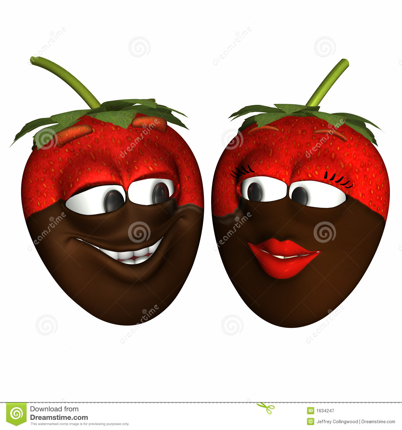 Chocolate Dipped Strawberry Smileys Stock Illustration