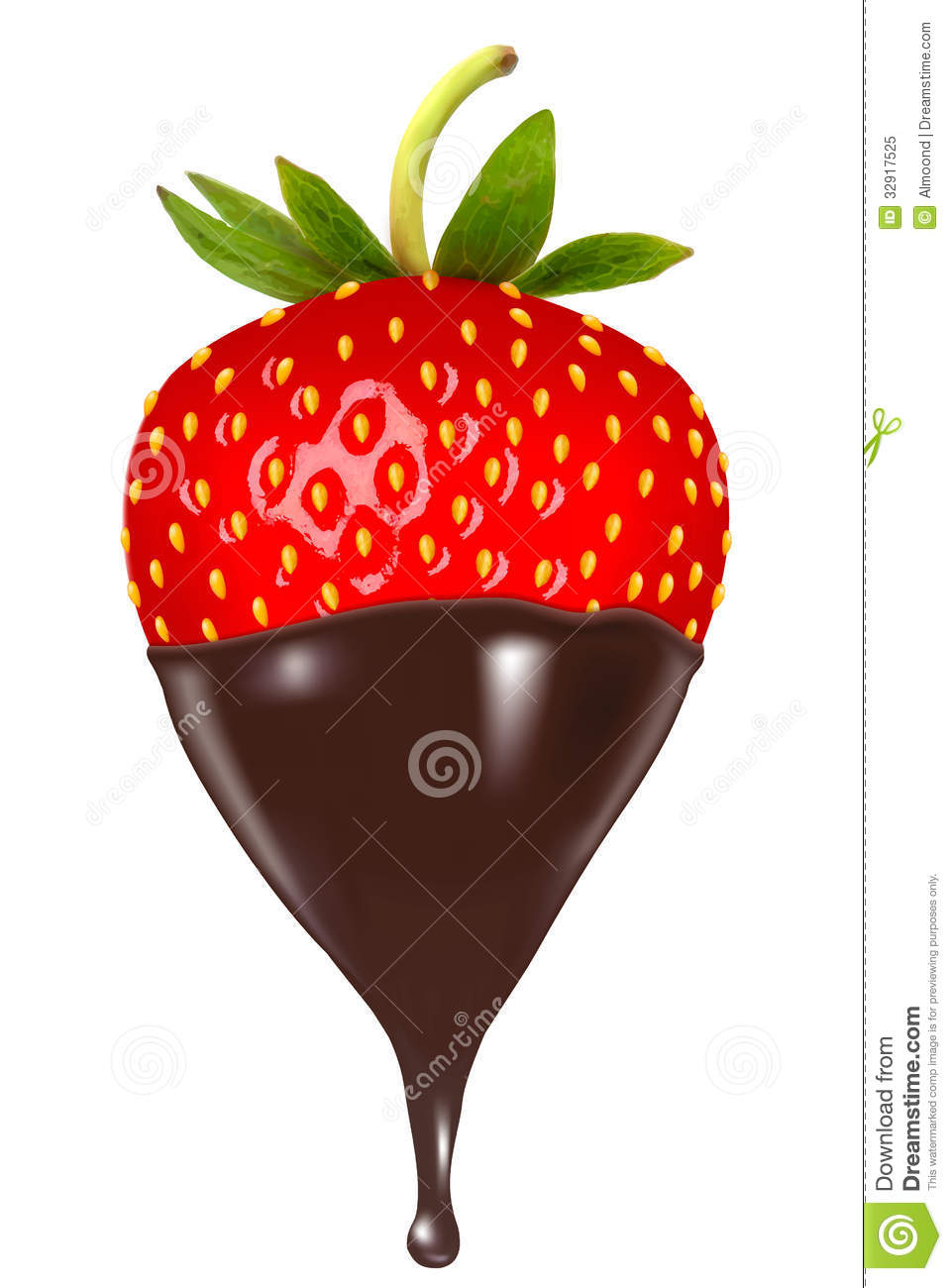 Chocolate Dipped Strawberry Stock Vector Illustration